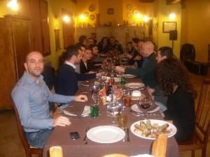 Cena di addetti alla ricostruzione in Agriturismo Antica Forconia Abruzzo